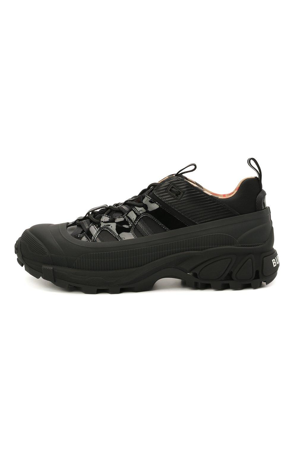 Мужские комбинированные кроссовки BURBERRY черного цвета, арт. 8035440   Фото 3 (Материал внешний: Текстиль; Материал внутренний: Натуральная кожа, Текстиль; Стили: Гранж; Подошва: Массивная)