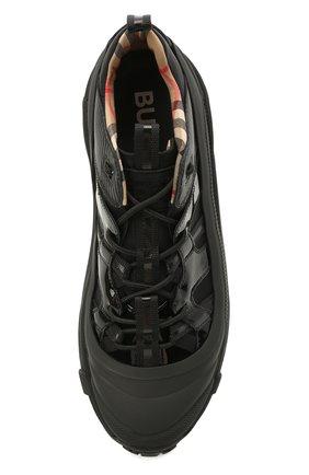 Мужские комбинированные кроссовки BURBERRY черного цвета, арт. 8035440   Фото 5 (Материал внешний: Текстиль; Материал внутренний: Натуральная кожа, Текстиль; Стили: Гранж; Подошва: Массивная)