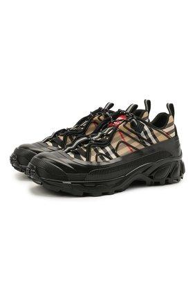 Мужские текстильные кроссовки BURBERRY бежевого цвета, арт. 8039047 | Фото 1