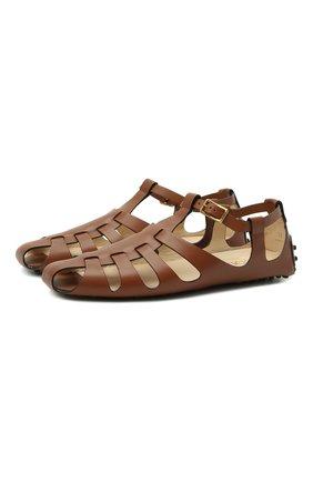 Женские кожаные сандалии TOD'S коричневого цвета, арт. XXW0FW0EH60D90 | Фото 1