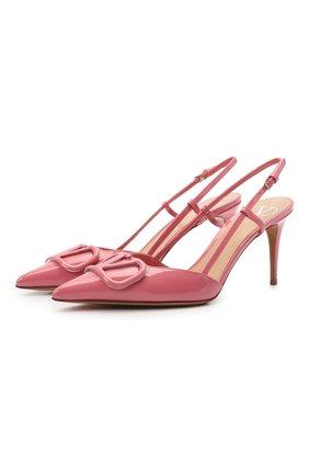 Женские кожаные туфли valentino garavani vlogo signature VALENTINO розового цвета, арт. VW0S0R01/TMK   Фото 1