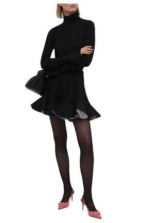 Женские кожаные туфли valentino garavani vlogo signature VALENTINO розового цвета, арт. VW0S0R01/TMK   Фото 2