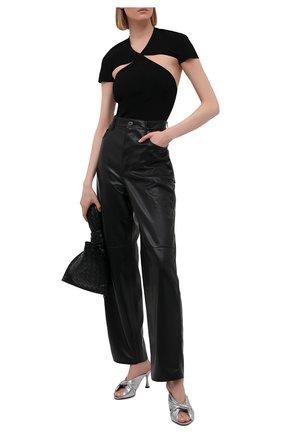 Женские кожаные мюли drapy BALENCIAGA серебряного цвета, арт. 617574/WBAW0 | Фото 2