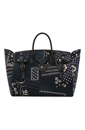 Женская сумка ricky 40 RALPH LAUREN темно-синего цвета, арт. 435841229 | Фото 1 (Размер: large; Сумки-технические: Сумки top-handle, Сумки через плечо; Материал: Текстиль)