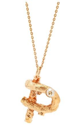 Женская кулон на цепочке alphabet p CHLOÉ золотого цвета, арт. CHC21UF02PCH5 | Фото 2 (Материал: Металл)