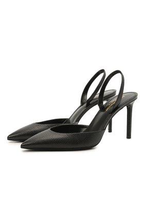 Женские кожаные туфли anja SAINT LAURENT черного цвета, арт. 658145/2Y900 | Фото 1 (Каблук тип: Шпилька; Материал внутренний: Натуральная кожа; Подошва: Плоская; Каблук высота: Высокий)