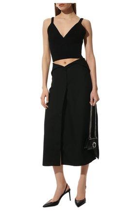 Женские кожаные туфли anja SAINT LAURENT черного цвета, арт. 658145/2Y900 | Фото 2 (Каблук тип: Шпилька; Материал внутренний: Натуральная кожа; Подошва: Плоская; Каблук высота: Высокий)