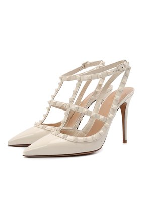 Женские кожаные туфли rockstud VALENTINO светло-бежевого цвета, арт. VW0S0393/YPX | Фото 1 (Подошва: Плоская; Каблук тип: Шпилька; Каблук высота: Высокий; Материал внутренний: Натуральная кожа)