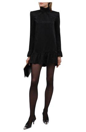 Женские кожаные туфли blade SAINT LAURENT черного цвета, арт. 660540/0NPNN | Фото 2 (Материал внутренний: Натуральная кожа; Подошва: Плоская; Каблук высота: Средний; Каблук тип: Шпилька)
