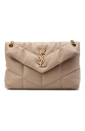 Женская сумка puffer small SAINT LAURENT бежевого цвета, арт. 577476/1EL07   Фото 1