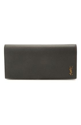 Женские кожаный кошелек SAINT LAURENT темно-серого цвета, арт. 635542/15B0W | Фото 1