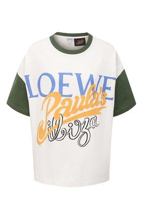 Женская хлопковая футболка loewe x paula's ibiza LOEWE белого цвета, арт. S616Y22X16 | Фото 1 (Материал внешний: Хлопок; Длина (для топов): Стандартные; Принт: С принтом; Рукава: Короткие; Женское Кросс-КТ: Футболка-одежда; Стили: Спорт-шик)