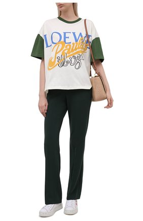 Женская хлопковая футболка loewe x paula's ibiza LOEWE белого цвета, арт. S616Y22X16 | Фото 2 (Материал внешний: Хлопок; Длина (для топов): Стандартные; Принт: С принтом; Рукава: Короткие; Женское Кросс-КТ: Футболка-одежда; Стили: Спорт-шик)