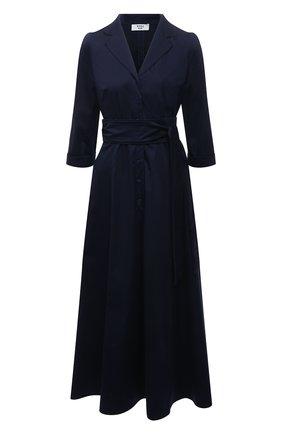 Женское хлопковое платье WEILL темно-синего цвета, арт. 145104 | Фото 1 (Случай: Повседневный; Рукава: 3/4; Длина Ж (юбки, платья, шорты): Миди; Материал внешний: Хлопок; Женское Кросс-КТ: Платье-одежда; Стили: Кэжуэл)