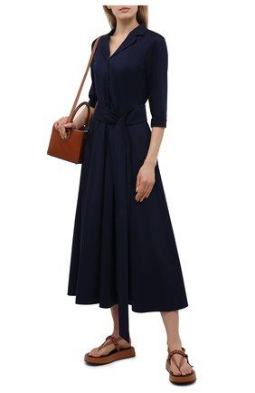 Женское хлопковое платье WEILL темно-синего цвета, арт. 145104 | Фото 2 (Случай: Повседневный; Рукава: 3/4; Длина Ж (юбки, платья, шорты): Миди; Материал внешний: Хлопок; Женское Кросс-КТ: Платье-одежда; Стили: Кэжуэл)