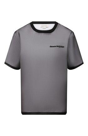 Женская шелковая футболка ALEXANDER MCQUEEN черного цвета, арт. 654002/QLAAA | Фото 1 (Стили: Гранж; Длина (для топов): Стандартные; Материал внешний: Шелк; Женское Кросс-КТ: Футболка-одежда; Принт: С принтом; Рукава: Короткие; Материал подклада: Хлопок)