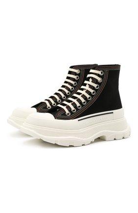 Женские текстильные ботинки tread slick ALEXANDER MCQUEEN черно-белого цвета, арт. 657575/W4L3M | Фото 1 (Подошва: Платформа; Каблук высота: Низкий; Материал внешний: Текстиль; Материал внутренний: Натуральная кожа; Женское Кросс-КТ: Хайкеры-ботинки)