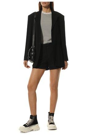 Женские текстильные ботинки tread slick ALEXANDER MCQUEEN черно-белого цвета, арт. 657575/W4L3M | Фото 2 (Подошва: Платформа; Каблук высота: Низкий; Материал внешний: Текстиль; Материал внутренний: Натуральная кожа; Женское Кросс-КТ: Хайкеры-ботинки)