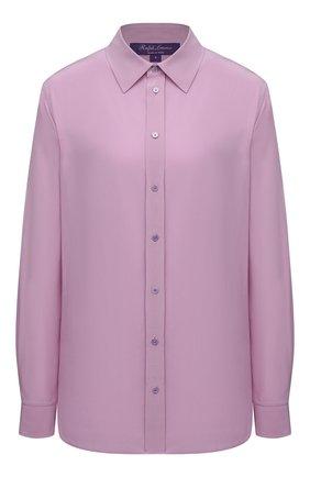 Женская шелковая рубашка RALPH LAUREN розового цвета, арт. 290845627   Фото 1 (Материал внешний: Шелк; Принт: Без принта; Стили: Кэжуэл; Женское Кросс-КТ: Рубашка-одежда; Рукава: Длинные; Длина (для топов): Удлиненные)