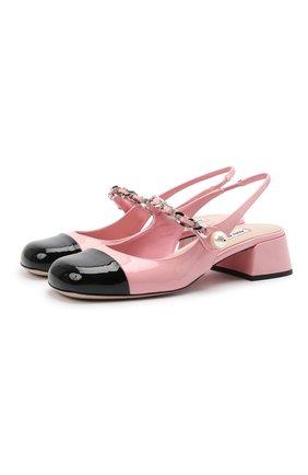 Женские кожаные туфли MIU MIU розового цвета, арт. 5I460D/ZHV   Фото 1