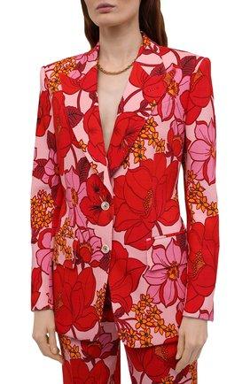 Женский жакет из вискозы TOM FORD красного цвета, арт. GI2811-FAP137   Фото 3 (Рукава: Длинные; Случай: Вечерний; Длина (для топов): Стандартные; 1-2-бортные: Однобортные; Материал внешний: Вискоза; Материал подклада: Вискоза; Стили: Романтичный; Женское Кросс-КТ: Жакет-одежда)