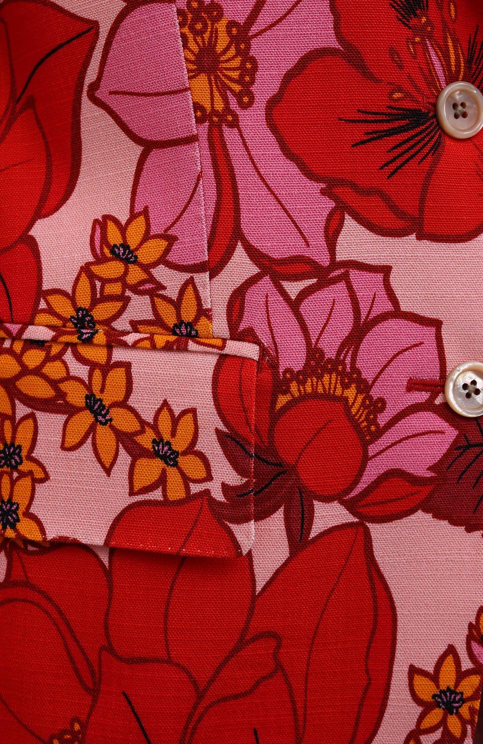 Женский жакет из вискозы TOM FORD красного цвета, арт. GI2811-FAP137   Фото 5 (Рукава: Длинные; Случай: Вечерний; Длина (для топов): Стандартные; 1-2-бортные: Однобортные; Материал внешний: Вискоза; Материал подклада: Вискоза; Стили: Романтичный; Женское Кросс-КТ: Жакет-одежда)