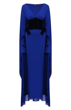 Женское платье из вискозы TOM FORD синего цвета, арт. ABJ506-FAX574 | Фото 1 (Стили: Романтичный; Случай: Вечерний; Материал внешний: Вискоза; Женское Кросс-КТ: Платье-одежда; Материал подклада: Шелк; Длина Ж (юбки, платья, шорты): Макси; Рукава: Длинные)