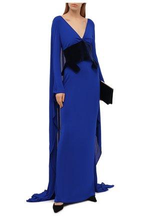 Женское платье из вискозы TOM FORD синего цвета, арт. ABJ506-FAX574 | Фото 2 (Стили: Романтичный; Случай: Вечерний; Материал внешний: Вискоза; Женское Кросс-КТ: Платье-одежда; Материал подклада: Шелк; Длина Ж (юбки, платья, шорты): Макси; Рукава: Длинные)
