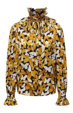 Женская шелковая блузка SAINT LAURENT желтого цвета, арт. 655326/Y6C13 | Фото 1 (Длина (для топов): Стандартные; Женское Кросс-КТ: Блуза-одежда; Принт: С принтом; Материал внешний: Шелк; Рукава: Длинные; Стили: Бохо)