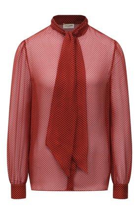 Женская шелковая блузка SAINT LAURENT красного цвета, арт. 650232/Y6C06 | Фото 1 (Стили: Романтичный; Рукава: Длинные; Принт: Без принта; Женское Кросс-КТ: Блуза-одежда; Длина (для топов): Стандартные; Материал внешний: Шелк)