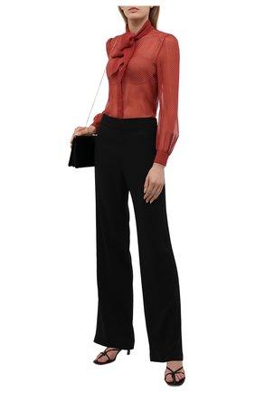 Женская шелковая блузка SAINT LAURENT красного цвета, арт. 650232/Y6C06 | Фото 2 (Стили: Романтичный; Рукава: Длинные; Принт: Без принта; Женское Кросс-КТ: Блуза-одежда; Длина (для топов): Стандартные; Материал внешний: Шелк)