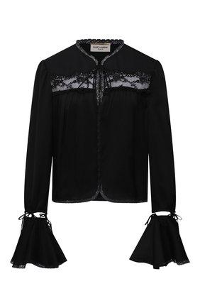 Женская шелковая блузка SAINT LAURENT черного цвета, арт. 650199/Y720W   Фото 1 (Стили: Бохо; Материал внешний: Шелк; Длина (для топов): Стандартные; Женское Кросс-КТ: Блуза-одежда; Принт: Без принта; Рукава: Длинные)