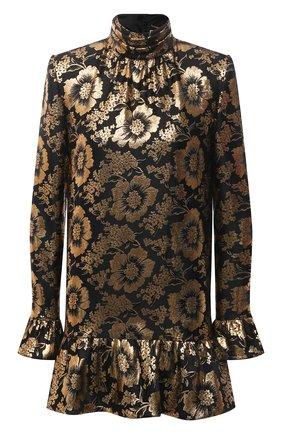 Женское шелковое платье SAINT LAURENT золотого цвета, арт. 661829/Y6C85   Фото 1