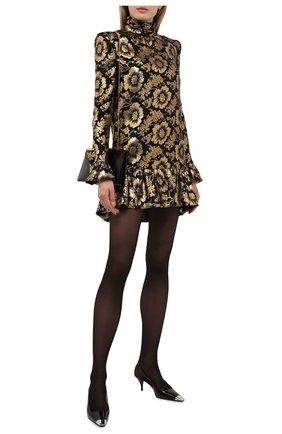 Женское шелковое платье SAINT LAURENT золотого цвета, арт. 661829/Y6C85   Фото 2