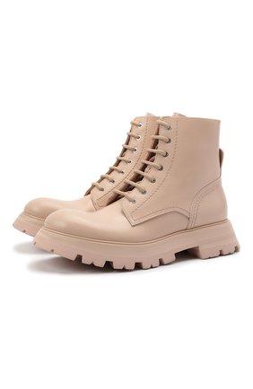 Женские кожаные ботинки ALEXANDER MCQUEEN светло-розового цвета, арт. 657569/WHZ80 | Фото 1 (Материал внутренний: Натуральная кожа; Каблук высота: Низкий; Подошва: Платформа; Женское Кросс-КТ: Военные ботинки)