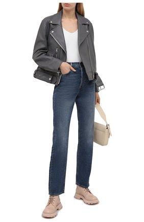 Женские кожаные ботинки ALEXANDER MCQUEEN светло-розового цвета, арт. 657569/WHZ80 | Фото 2 (Материал внутренний: Натуральная кожа; Каблук высота: Низкий; Подошва: Платформа; Женское Кросс-КТ: Военные ботинки)