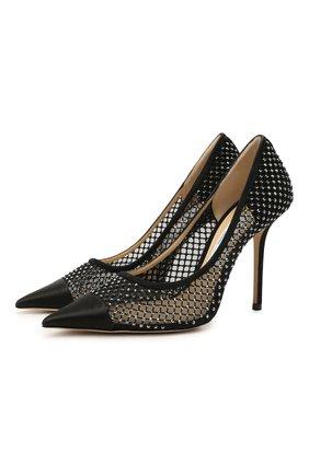 Женские комбинированные туфли love 100 JIMMY CHOO черного цвета, арт. L0VE 100/UEU | Фото 1