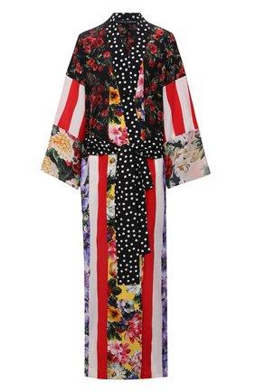 Женское шелковое платье DOLCE & GABBANA разноцветного цвета, арт. F0U29T/GDY32 | Фото 1 (Женское Кросс-КТ: Платье-одежда; Длина Ж (юбки, платья, шорты): Макси; Материал внешний: Шелк; Стили: Гламурный; Рукава: Длинные; Случай: Вечерний)