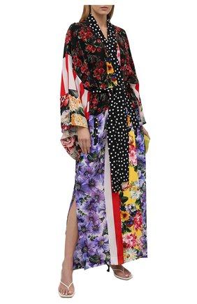 Женское шелковое платье DOLCE & GABBANA разноцветного цвета, арт. F0U29T/GDY32 | Фото 2 (Женское Кросс-КТ: Платье-одежда; Длина Ж (юбки, платья, шорты): Макси; Материал внешний: Шелк; Стили: Гламурный; Рукава: Длинные; Случай: Вечерний)