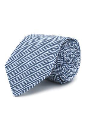 Мужской галстук из шелка и хлопка LUIGI BORRELLI синего цвета, арт. LC80/T31074 | Фото 1