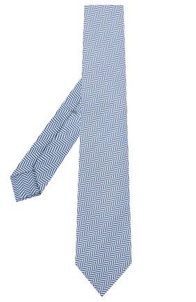 Мужской галстук из шелка и хлопка LUIGI BORRELLI синего цвета, арт. LC80/T31074 | Фото 2