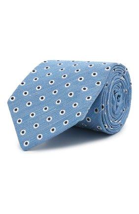 Мужской галстук из шелка и льна LUIGI BORRELLI синего цвета, арт. LC80/T31205 | Фото 1