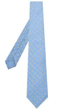 Мужской галстук из шелка и льна LUIGI BORRELLI синего цвета, арт. LC80/T31205 | Фото 2