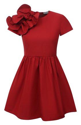Женское платье REDVALENTINO красного цвета, арт. VR0VAY85/5S3   Фото 1 (Материал внешний: Синтетический материал, Хлопок; Длина Ж (юбки, платья, шорты): Мини; Случай: Коктейльный; Стили: Романтичный; Женское Кросс-КТ: Платье-одежда; Рукава: Короткие)