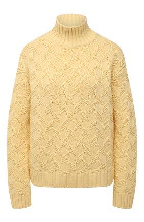 Женский шерстяной свитер LORO PIANA желтого цвета, арт. FAL5518   Фото 1 (Женское Кросс-КТ: Свитер-одежда; Длина (для топов): Стандартные; Рукава: Длинные; Материал внешний: Шерсть; Стили: Кэжуэл)