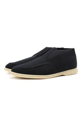 Мужские текстильные ботинки open walk LORO PIANA темно-синего цвета, арт. FAL6181 | Фото 1