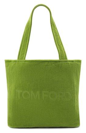 Женский сумка-тоут beachwear medium TOM FORD зеленого цвета, арт. L1438T-TT0001 | Фото 1 (Сумки-технические: Сумки-шопперы; Материал: Текстиль; Ошибки технического описания: Нет ширины; Размер: medium)