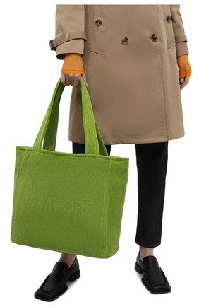 Женский сумка-тоут beachwear medium TOM FORD зеленого цвета, арт. L1438T-TT0001 | Фото 2 (Сумки-технические: Сумки-шопперы; Материал: Текстиль; Ошибки технического описания: Нет ширины; Размер: medium)