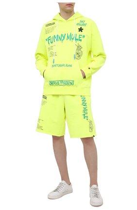 Мужской хлопковое худи COMME DES FUCKDOWN светло-зеленого цвета, арт. CDFU1143 | Фото 2