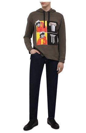 Мужской хлопковое худи DIEGO VENTURINO хаки цвета, арт. SS21-DV FLH WAMBDM | Фото 2